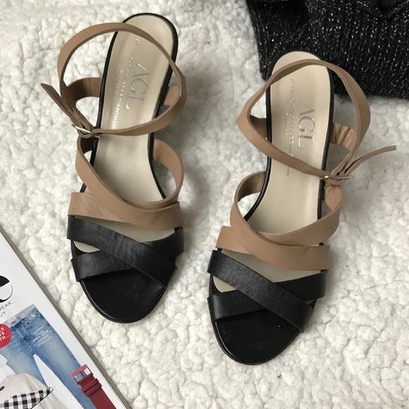 3d05cd98117 Agl Shoes - AGL soft leather tan black wedges shoes